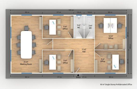 Modulär Kontor Byggnad 90 m²