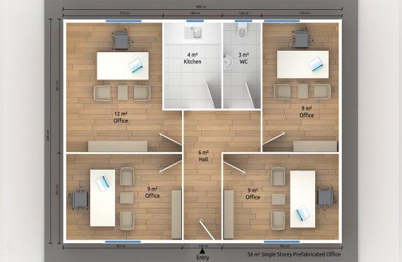 Modulär Kontor Byggnad 58 m²