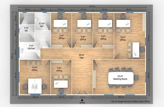 Modulär Kontor Byggnad 136 m²