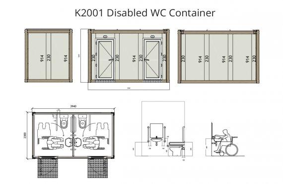 K 2001 Handikappet WC Container
