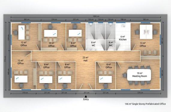 Modulär Kontor Byggnad 146 m²