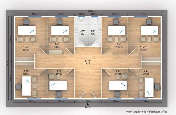 Modulär Kontor Byggnad 98 m²