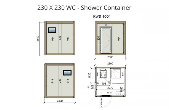 KW2 230X230 WC - Dusch Container