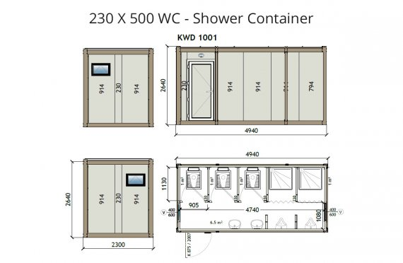 KW6 230X500 WC - Dusch Container