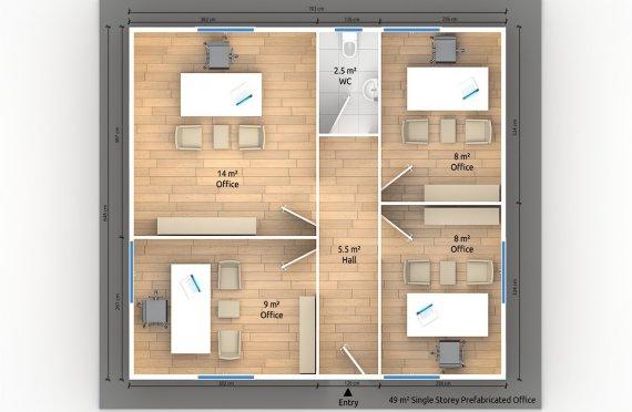 Modulär Kontor Byggnad 49 m²