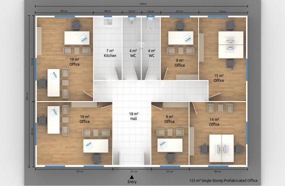 Modulär Kontor Byggnad 125 m²