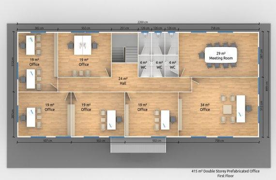 Modulär Kontor Byggnad 415 m²