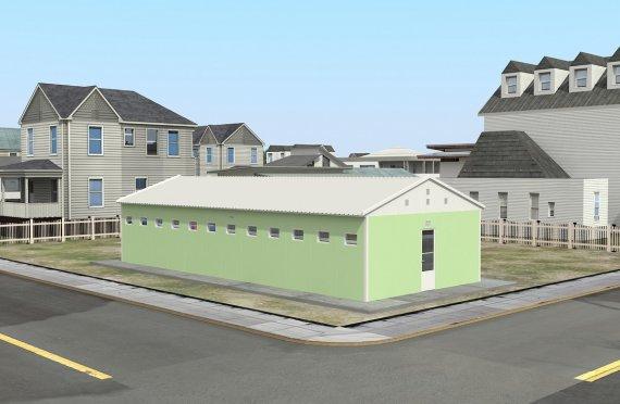 Prefabricerad Toalett & Dusch Byggnad 97 m²